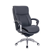 """Serta® - Big & Tall Chair - IComfort I5000 Leather Series, 48-1/2"""" h x 29-3/4"""" w x 33"""" d - Tested to Support Up to 400 lb - Slate/chrome"""