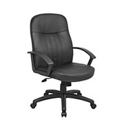 """Boss® - Chair - Budget Executive Chair Leather, Managerial, 40 1/2-44 InH x 27"""" w x 27"""" d - Black/black"""