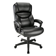 "Realspace® - Chair - Fennington High-Back Bonded Leather Chair 43-1/8"" to 46-7/8""H x 31-1/2"" w x 30-15/16"" d - Black/black"