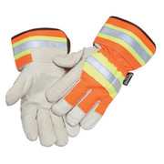 """Radnor® - Gloves - Large Orange and Gray Pigskin and Polyester Thinsulate® Lined Cold Weather with Wing Thumb and Safety Cuff Has A 1-1-2 Wide Green Band and A 3-4"""" Reflective Stripe - CA of 2 PR"""