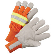 """Radnor® - Gloves - Thinsulate® Lined x-Large Orange and Gray Pigskin and Polyester Cold Weather with Wing Thumb and Knit Wrist 3/4"""" Strip of 3M® Scotchlite™ Reflective Silver Fabric - CA of 2 PR"""