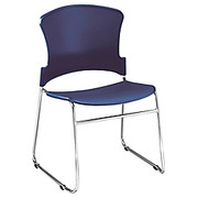 "OFM™ - Stacking Chair - Stack Chair - 33"" h x 21"" w x 22"" d, Navy - PK of 4"