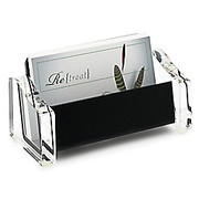 "Realspace® - Business Card Holder - Acrylic Business Card Holder 2 1/4"" h x 2"" w x 4 3/10"" d, Black/clear"