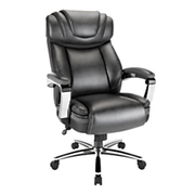 """Realspace® - Big & Tall Chair - Axton Big & Tall Bonded Leather High-Back Chair, Tested to Support 500 lb - 44-5/16"""" to 46-1/2"""" H x 29-3/4"""" w x 33-1/8"""" d Dark - Gray/Chrome"""