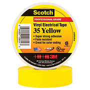 """3M™ - Electrical Tape - 35 Color-Coded Vinyl Electrical Tape - Tape, 35 Electrical, 66 x 3/4"""", Yellow 3510PKY"""