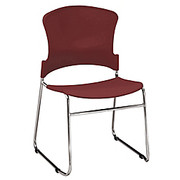 "OFM™ - Stacking Chair - Stack Chair 33"" h x 21"" w x 22"" d, Wine - PK of 4"