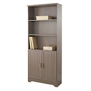"Realspace® - Bookcase - Magellan Collection 5-Shelf Bookcase with 2 Doors - 72"" h x 30-1/2"" Gray"