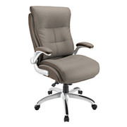 "Realspace® - Big & Tall Chair - Ampresso Bonded Leather High-Back, Tested to Support 350 lb, 44-1/8"" to 47-1/4"" H x 28"" W 31-1/2"" D - Taupe/Silver"