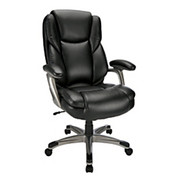 "Realspace® - Chair - Cressfield High-Back Bonded Leather Chair - 42-15/16 - 46-11/16"" h x 28-3/8"" w x 31-5/16"" d - Black/Silver"