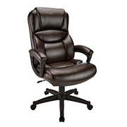 "Realspace® - Chair - Fennington High-Back Bonded Leather Chair - 43-1/8"" to 46-7/8""H x 31-1/2"" w x 30-15/16"" d - Brown/Black"