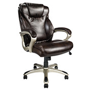 "Realspace® - Chair - Ec620 Executive High-Back Chair - From 41-15/16"" to 44-7/8"" 32 x 26 x 15 Inches - Brown/silver"
