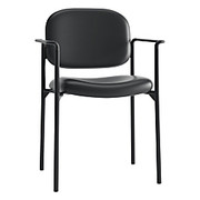 """Basyx® - Stacking Chair - SofThread Leather Stacking Guest Chair with Arms, 32-3/4"""" h x 23-1/4"""" w x 21"""" d - Black W/black Metal Trim"""