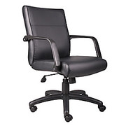 """Boss® - Chair - Bonded Leather Executive Mid-Back Chair 42-1/2"""" h x 27"""" w x 27"""" d, Black/black"""