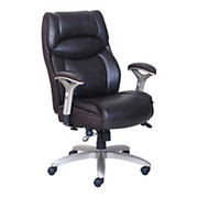 """Serta® - Big & Tall Chair - Smart Layers Jennings Super Task, Bonded Leather - Tested to Support 400 lb - 48"""" h x 27-1/4"""" w x 33"""" d - Brown/chrome"""