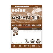 "Boise® - Copy Paper - ASPEN® Multipurpose Paper, 8 1/2"" x 11in, 92 (U.S.) Brightness, 20 lb, 100% Recycled, White, 500 Sheets - ASPEN® Multipurpose Paper"