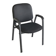 "Realspace® - Stacking Chair - Stacking Guest Chair W/arms - 33-1/4"" h x 22-1/2"" w x 22-1/4"" d - Black/black"
