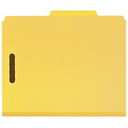 """Smead® - Folders - 100% Recycled Pressboard Colored Classification Folders - Letter - 8 1/2"""" x 11in Sheet Size - 2"""" Expansion - 2 x 2k Fastener(S) - 2/5 Tab Cut - Right of Center Tab Location - 2 Divider - 25 pt. Folder Thickness - Pressboard - Yello"""
