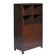 "Realspace® - Bookcase - Sierra Canyon 4-Shelf, 2 Drawer Bookcase, 55-1/4"" h x 30"" w x 15-1/2"" d Cherry"