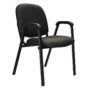 "Office-Stor Plus - Stacking Chair - Officestor Plus Stacking Bonded Leather Guest Chair with Arms, 33-1/4"" h x 22-1/2"" w x 24-1/4"" d, Black"