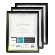 "Realspace® - Award Frame - Document and Certificate Holders, Pack of 3 - 8 1"" x 11"", Clear/black"