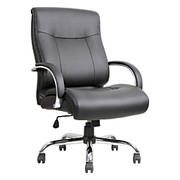 "Lorell® - Big & Tall Chair - Deluxe Bonded Leather Mid-Back - Tested to 450 lb - 29"" d x 46-1/2"" h x 29-1/8"" w - Black"