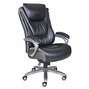 """Serta® - Big & Tall Chair - Smart Layers™ Blissfully Bonded Leather High-Back, - 48"""" h x 27 1/4"""" w x 33"""" d - Tested to Support 400 lb - Black/Gray W/chrome Trim Base"""