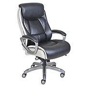 """Serta® - Chair - Smart Layers Tranquility Executive High-Back Faux Leather Chair - 40 1/2"""" H x 26 1/4"""" W x 27 3/4"""" D - Black/slate"""