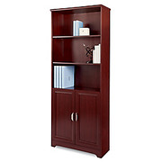 "Realspace® - Bookcase - Magellan Collection 5-Shelf Bookcase with Doors, 72"" h x 30-1/2"" w x 11-3/5"" d, Classic Cherry"