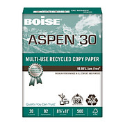 "Boise® - Copy Paper - ASPEN® Multipurpose Paper, 8 1/2"" x 11in, 92 Brightness, 20 lb, 30% Recycled, White, Ream of 500 Sheets - ASPEN® Multipurpose Paper"