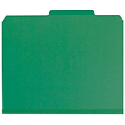 """Smead® - Folder - 100% Recycled Pressboard Colored Classification Folders - Letter - 8 1/2"""" x 11in Sheet Size - 2"""" Expansion - 2 x 2k Fastener(S) - 2/5 Tab Cut - Right of Center Tab Location - 2 Divider - 25 pt. Folder Thickness - Pressboard - Green"""