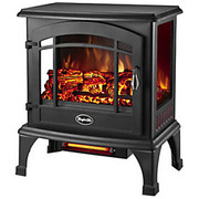 World Marketing - Space Heater - Comfort Glow Sanibel Panoramic Electric Stove with Infrared Quartz - Infrared - Electric 750 W to 1500 W - 2 x Heat Settings - Gloss Black