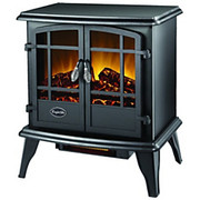 World Marketing - Space Heater - Comfort Glow the Keystone Electric Stove with Infrared Quartz Black - Infrared - Electric - 1348.13 W 700 Square ft Coverage Area - 1500 W - Indoor - Gloss Black