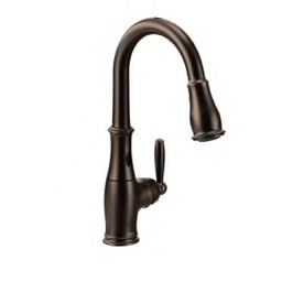Moen® - Kitchen Faucet - Brantford High Arc Pull Down Kitchen Faucet Oil  Rubbed Bronze