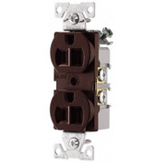 Cooper Wiring Devices - Straight Blade Receptacles - 125 Vac, 15 Amp, 5-15r Nema Configuration, Brown, Specification Grade, Self Grounding Duplex Receptacle