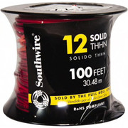 Southwire® - Building Wire - Thhn-thwn, 12 Awg, 20 Amp, 100' Long, Solid Core, 1 Strand Building Wire  Red - SO of 100 FT
