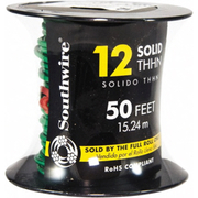 Southwire® - Building Wire - Thhn/thwn, 12 Awg, 20 Amp, 50' Long, Solid Core, 1 Strand Building Wire 11591537 Green - SO of 50 FT