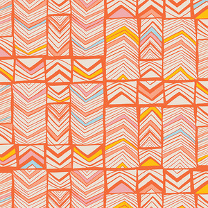 Art Gallery Fabrics Meadow - Geos Bright Mandarin
