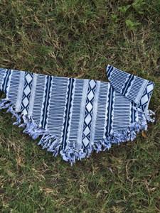 Navy Aztec Fringe Scarf - Baby Bandana Bib
