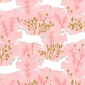 Unicorn Pink Mint Fabric - Michael Miller Magic Unicorn Forest cotton