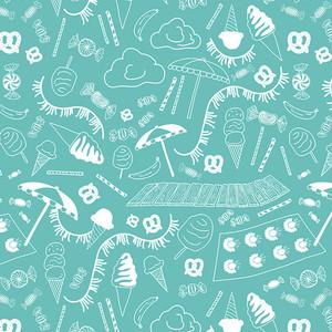 Beach Fabric Blue - Art Gallery Fabrics Busy Beach Teal cotton fabric