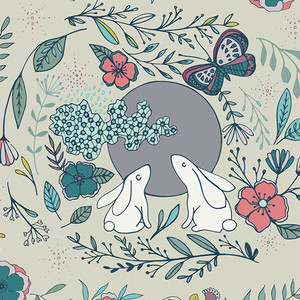 Woodland animals floral fabric - Art Gallery Moon Stories Ash cotton