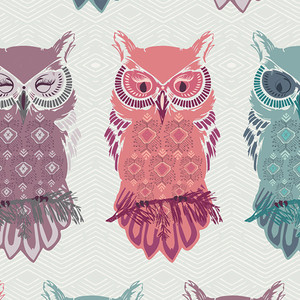Pastel owl fabric - Art Gallery Fabrics Bird of Night Mist cotton
