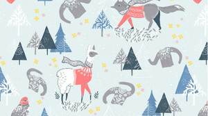 Woodland winter scene cotton fabric - Dear Stella Winterscape cotton