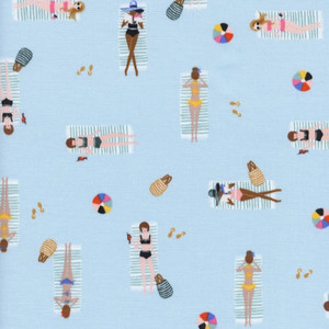 Blue sun tanning cotton fabric - Rifle Paper Co. Sun Girls cotton fabric
