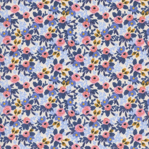 Rifle Paper Co. Rosa Periwinkle Fabric - Cotton + Steel floral cotton