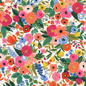 Rifle Paper Co floral fabric - Garden Party Petite cream Wildwood cotton