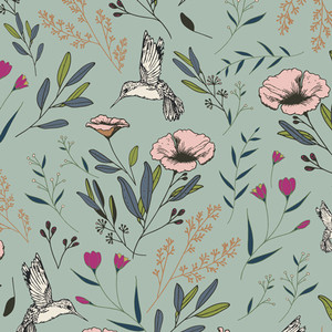 Hummingbird floral fabric - Art Gallery cotton Magic Fauna Mirage