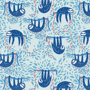 Swaying Sloths Sky - Art Gallery Fabrics Selva sloth fabric Selva