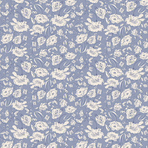 Blue floral fabric - Art Gallery Blooming Brook Moon quilt cotton