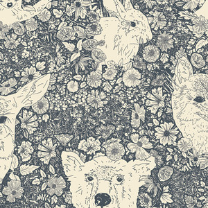 Bear Deer forest animal navy fabric - Wandering with Bear - AGF cotton